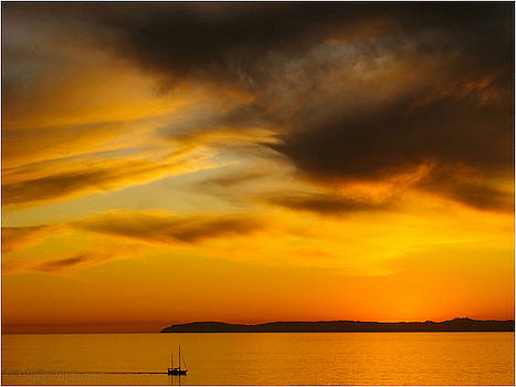 Boat at Golden Sunset by Mirza Ajanovic