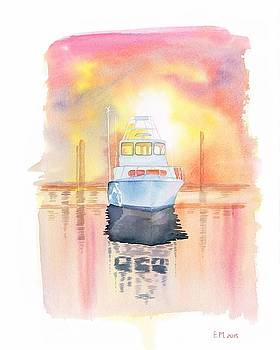 Boat At Harbor by Elena Mahoney