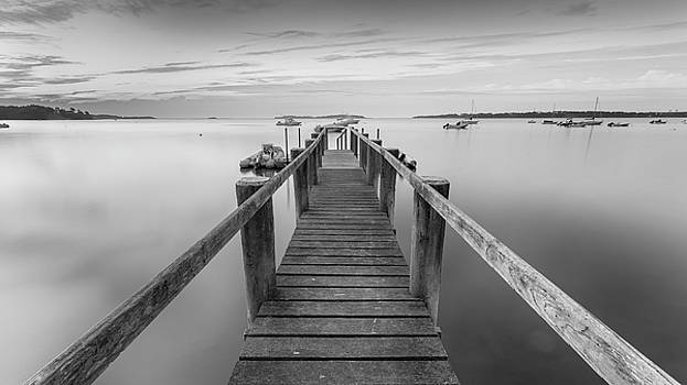 Boat Dock at Sunrise Black-and-White Panorama by Dapixara Art