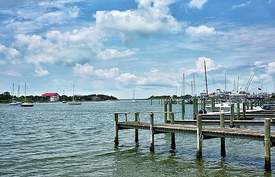 Boat Dock on Silver Lake - Ocracoke Island by Brendan Reals