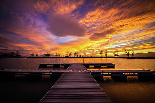 Boat Dock Sunset by Wesley Aston