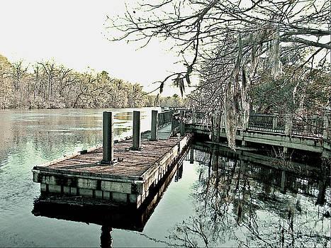 Boat Dock Wintertime Waccamaw River Riverwalk Conway South Carolina by Joey OConnor