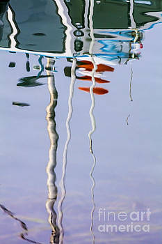 Boat Mast Water Reflection by Sharon Foelz