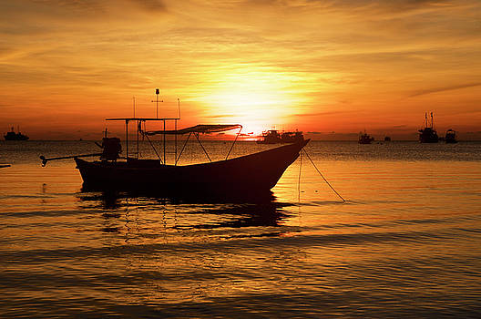 Boat on sunrise background by Tamara Sushko