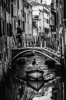 Boat on the river-BW by Okan YILMAZ