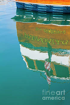 Boat Reflection in Water  by Sharon Foelz