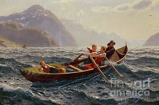 Boat rowing trip at Sognefjorden by Hans Dahl