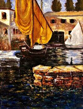 Boat with golden sail,San Vigilio  by Cristina Mihailescu
