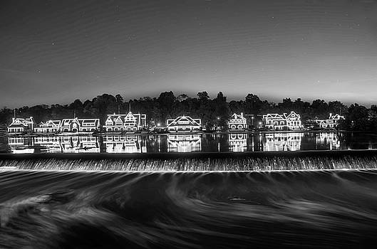 Boathouse Row Sparkling in the Night  in Black and White by Bill Cannon