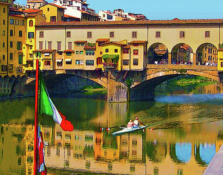 Boating at Ponte Vecchio, Florence by Coleman Mattingly