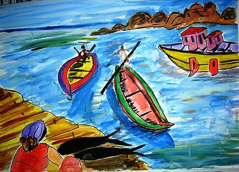 Boats and a lady by Sonali Singh