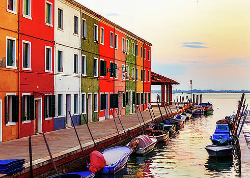 Boats and Colorful Homes in Burano Italy by Susan Schmitz