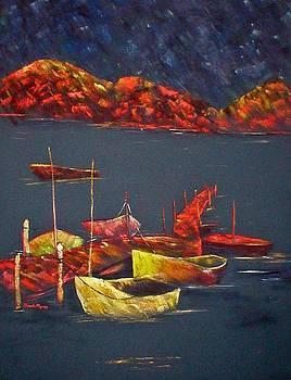 Boats at Nightfall by Rhonda Myers