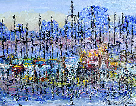 Boats in harbor by Michael Lee