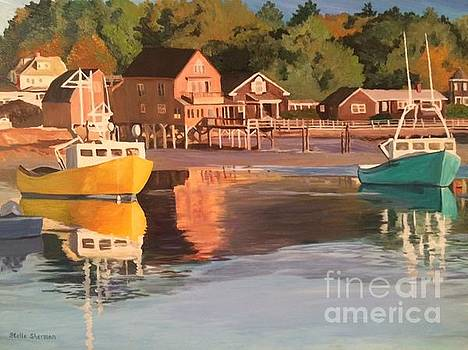 Boats in Kennebunkport Harbor by Stella Sherman