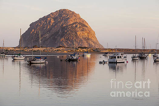 Boats in Morro Rock Reflection by Sharon Foelz