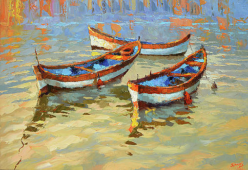 Boats in the sunset by Dmitry Spiros