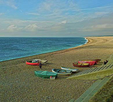 Boats on Chesil Beach by Anne Kotan