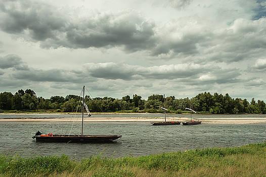 Boats on River Loire - France by Dirk Wuestenhagen