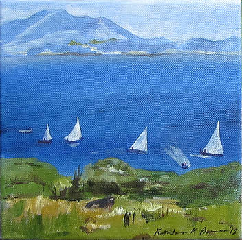 Boats on the Bay by Kathleen Barnes