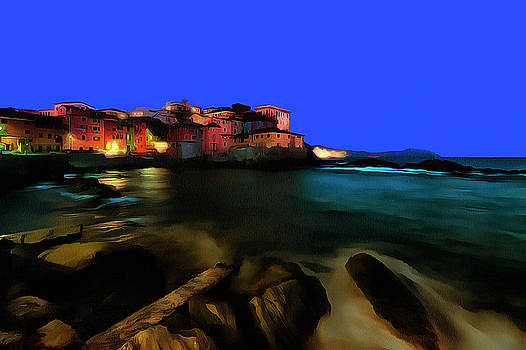 Enrico Pelos - BOCCADASSE BY NIGHT paint