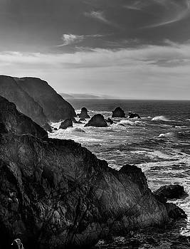 Bodega Bay South in monochrome. by David Cabana