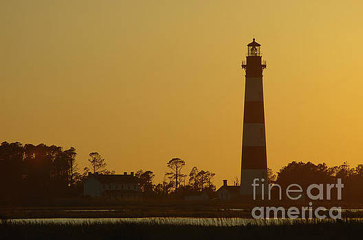 Bodie Island Gold - Bodie Island Lighthouse, Nags Head North Carolina. by David Daniel
