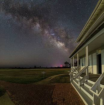 Bodie Island Lighthouse Keepers House under the stars by Nick Noble