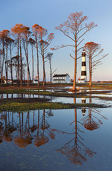 Bodie Island Lighthouse OBX Golden Sunset Reflections by Mark VanDyke