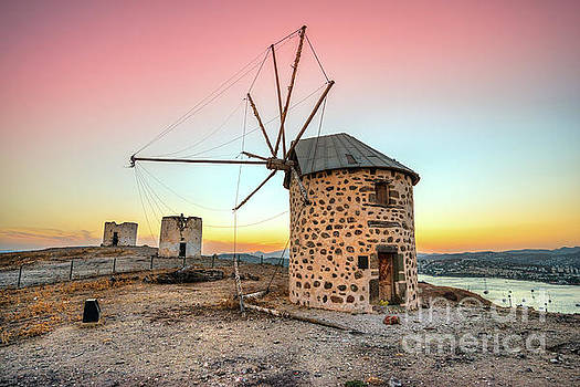 Bodrum and old Windmills - Turkey by Luciano Mortula