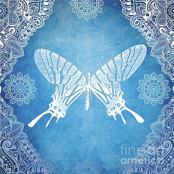 Bohemian Ornamental Butterfly Deep Blue Ombre illustratration by Sharon Mau