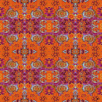 Boho Hippie Garden - tangerine by Lisa Weedn