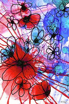 Sharon Cummings - Bold Modern Floral Art - Wild Flowers 3 - Sharon Cummings