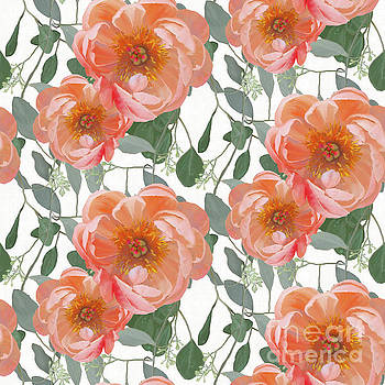 Bold Peony Seeded Eucalyptus leaves Repeat Pattern by Audrey Jeanne Roberts