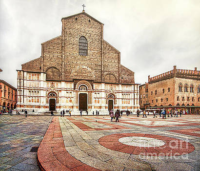 Bologna, Italy San Petronio basilica facade crescentone by Luca Lorenzelli