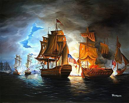Bonhomme Richard engaging The Serapis in Battle by Paul Walsh