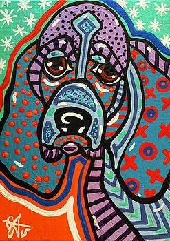 Bonkers Hound Basset Beagle Coonhound Tan Black Bloodhound Hound by Jackie Carpenter