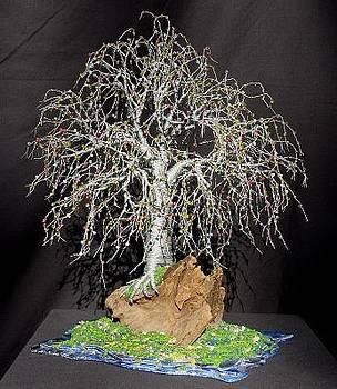 Bonsai Island No. 2 - Wire Tree Sculpture by Sal Villano