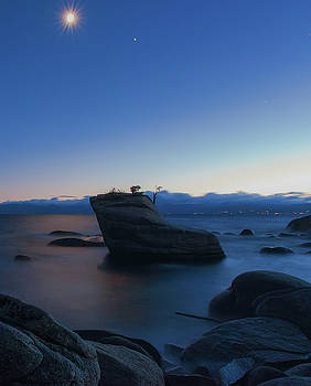 Bonsai Rock Lake Tahoe Long Exposure Summer Moonrise with Stars, Reflections and Clouds by Brian Ball