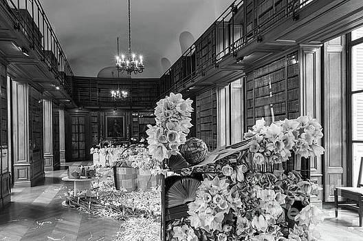 Books And Amaryllises, Beloeil Castle - bw by Sinisa CIGLENECKI