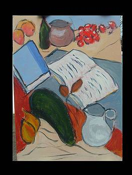 Books fruit and Jug by Bernard Victor