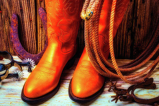 Boots Rpoe And Spurs by Garry Gay