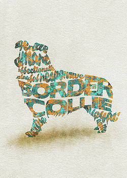 Border Collie Watercolor Painting / Typographic Art by Ayse and Deniz