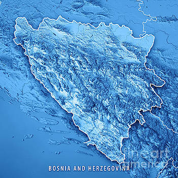 Bosnia And Herzegovina Country 3D Render Topographic Map Blue Bo by Frank Ramspott
