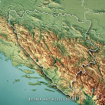 Bosnia And Herzegovina Country 3D Render Topographic Map Border by Frank Ramspott