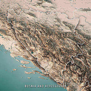 Bosnia And Herzegovina Country 3D Render Topographic Map Neutral by Frank Ramspott
