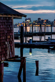 Boston City Lights from the Winthrop Harbor by Thomas Logan