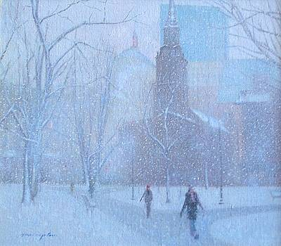 Boston Common Winter by Yoshi Mizutani