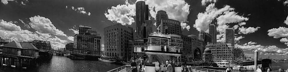 Boston Harbor Panoramic in Black and White by Joann Vitali