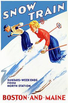 Boston Maine Vintage Travel Poster Restored by Carsten Reisinger